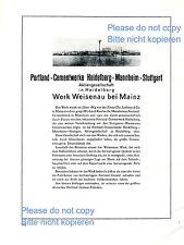 Portland Zement Werk Weisenau XL Reklame 1927 Historie Mainz Heidelberg +