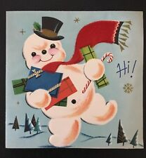 Christmas Card Vintage Snowman with Fuzzy Red Scarf Mid Century Hi!