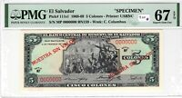 El Salvador PMG Certified Banknote 1968 5 Colones Specimen UNC 67 EPQ Pick 111s1