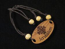 Handmade Bethlehem Olive Wood Crusaders' Cross & Beads Rope Bracelet Palestine