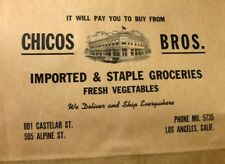 Orig. 1920's Chicos Brothers Paper Grocery Bag Los Angeles NOS Chinatown N. Hill