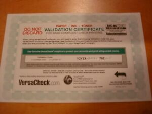 Versa Check check printing activation code for 250 checks per code