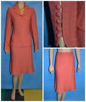ST JOHN COLLECTION KNIT Salmon PINK Jacket & Skirt L 12 14 2pc Suit BUTTONS