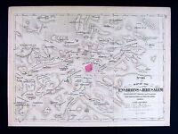 1885 Hardesty Map - Jerusalem Environs Bethlehem Jericho Gibeon Holy Land Israel