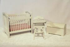 Dollhouse Furniture Nursery Set Baby Crib, High Chair and Trunk