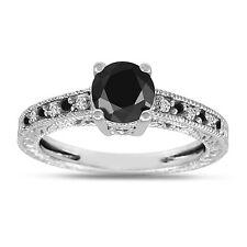 Ring 14K White Gold Antique Style Enhanced Black And White Diamonds Engagement