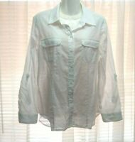 WOMEN'S CHICO'S SOLID WHITE ROLL TAB LONG SLEEVE BUTTON DOWN COTTON BLOUSE 1 M