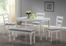 Monarch Specialities Dining Set - 5Pcs Set / White Bench And 3 Side Chairs