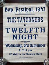 More details for vintage original theatre poster hop festival twelfth night