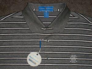 Men's NWT FAIRWAY & GREENE Golf Polo M HEATHER GRAY w/Stripes w/Golf Logo
