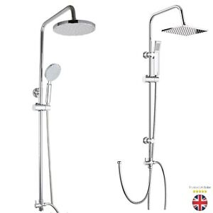 Chrome Bathroom Adjustable Square Round Shower Mixer Set Twin Head Bath Shower