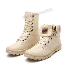 Men's Flat Military Lace Up Ankle Boots Canvas Tactical Combat Shoes Size