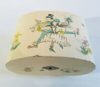 Musical Jewelry Box Vtg Japan Painted Dancing Couple Oval Ivory Mirrored Divided