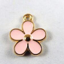 30X Gold & Rosa Legierung Emaille Nette Blumen Charme Anhänger Schmuck 50993