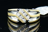 Mens 14K Yellow Gold 2 Row Channel Set Round Diamond Engagement Ring Band .25 ct