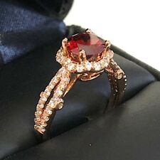 Gorgeous 2.5 Ct Red Ruby Diamond Halo Ring 14K Rose Gold Plated Women Jewelry