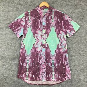 Afends Mens Button Up Shirt Size L Multicoloured Abstract Short Sleeve 42.15
