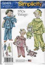 Simplicity Pattern 1264 / 0474 Girls 3-8 1950's Vintage look Pajamas & Bunny