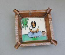 Ciasa Copper & Ceramic Tile Ashtray Vintage Mexico Indian Basket Arts & Crafts