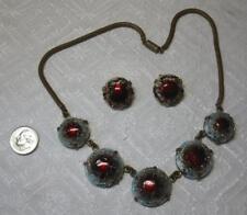 French Limoges Enamel Earrings Necklace Lazerat MidCentury Opalescent France