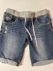 Justice 14.5 14 1/2 Girls Long Blue Denim Shorts Knit Waist