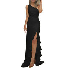 Womens One Shoulder Ruched Ruffle Formal Evening Dress Slim Party Maxi Dress NA
