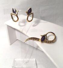 Unusual - Past Times Goldtone & Blue Enamel Art Deco Style Brooch & Earrings Set