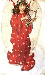 Christmas Victorian Style Large Advent Calendar Angel Harp Glittered