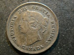 1888 Canada Sterling Silver 5 Cents Queen Victoria Young Head. Extra Fine. Toned