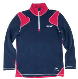 Swix Unisex Fleece Sweatshirt Youth Polyester Blue Pink Long Sleeve Size 12 Yrs