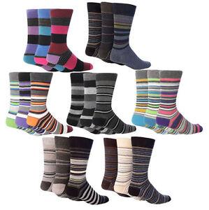 Giovanni Cassini - 6 Pack of Mens Colorful Striped Cotton Rich soft cuff Socks