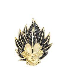 14k Yellow Gold Over 925 Silver Mens Vegeta Pendant AAA Pave Black Diamonds