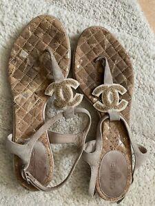 Original! CHANEL Sandalen Beige Leder CC Logo Sandals Gr. 37,5 37 Top!