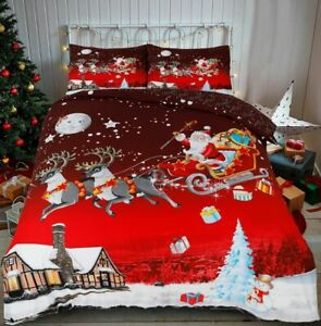 Christmas Greeting  Xmas duvet cover and pillow cases All Sizes Available