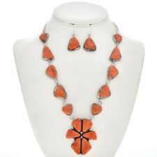Navajo Apple Coral  Necklace and Earring Set
