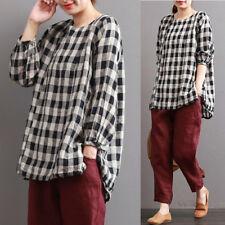 ZANZEA  S-5XL Lady Check Plaid Cotton Tops Pullover Shirt Blouse Plus Size