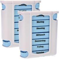 2x Pillendose Pillenbox Tablettendose Tablettenbox Box Dose mit Wocheneinteilung