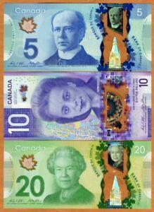 Set Bank of Canada, $5;10;20 2012-2018, Polymer, P-106b-108-113, UNC