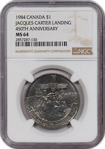 1984 CANADA 1$ JACQUES CARTIER LANDING 450TH ANNIV NGC MS 64