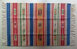 petit tapis kilim 100% coton 60X90CM fabriqué main fait de matériaux naturels
