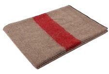 "Swiss Style Wool Blanket Tan w/ Red Strip 62"" x 80"" Warm Fire Retardant Blankets"