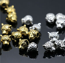 50pcs Silver & Gold Brass Leopard Head Charm Spacer Beads Jewelry Findings 10mm