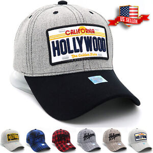 Hollywood Baseball Caps for Men and Women Curved Visor Adjustable Size Hats