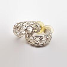 Sterling Silver Cut Out Design Half Hoop Earrings