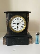 """French Marble and Black Slate Mantel Clock Timepiece Late 19th C 8"""" circa 1900"""