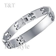 Unique T&t 316l Stainless Steel Plain ID Bracelet
