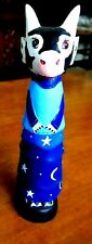 One Vintage Blue Celestial Cow with Moons & Stars Figurine Painted Wood
