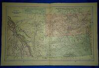 Vintage 1892 MAP ~ ALBERTA - SASKATCHEWAN - ASSINIBOIA ~ Old Antique Original