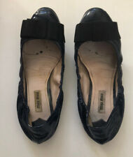 Miu Miu Shoes Ballet Pumps Navy Patent With Black Bow 38.5