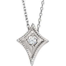 "Diamond Kite 16-18"" Necklace In 14K White Gold (1/10 ct. tw.)"